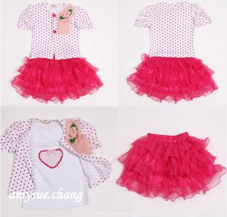 3pcs Baby Girl Kid Coat Top Skirt T Shirt Tutu Pageant Outfit Costume Clothes