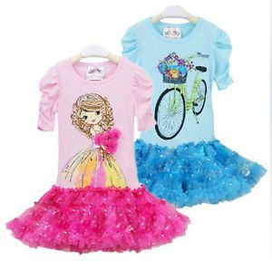 Baby Girl's Flower Cartoon Dress Tutu Outfits 1 5Y Toddler Clothes 139