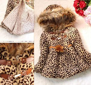 Fashion Baby Girl Faux Fur Leopard Hoody Clothes Kid Winter Warm Jacket Clothing