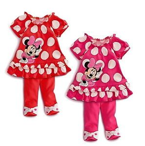 Girls Kids Minnie Mouse Outfit Top Dress Leggings Pants 2pcs Set 6M 3Y Clothing