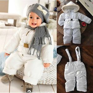 Baby Girl Boy Clothes Winter Pure White Snowsuit Set Snow Jacket Snow Pants