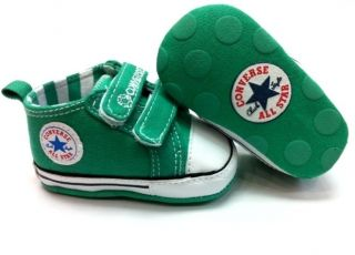 New Converse Soft Sole Baby Girl Boy Strap Red or Green Crib Shoes Age 3 18 MTH