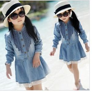 Jean Skirts Girls Baby Toddlers Cowboy Blue Dresses Costume New Sz 2 7Years