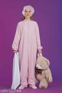Pink Adult Footie Jammies Big Baby Girl Pajamas Dress Up Halloween Costume
