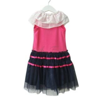 Pink Girls Kid Lace Collar Party Sleeveless Tulle Dress Summer Clothing Sz 3 7