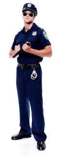 Police Officer Adult Mens Costume Career Cool Uniform Cop Halloween Theme Party