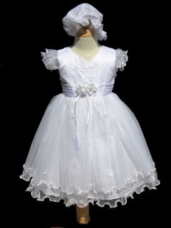 Infant Toddler Girl Baptism Christening Dress Size XS s M L XL 3T 4T