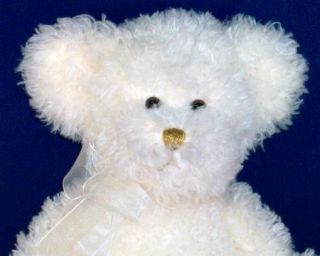Russ Berrie White Teddy Bear Gold Cross Faith Plush Excellent Condition