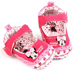 Toddler Baby Girl Colorful Minnie Mouse Crib Shoes Size 0 6 6 12 12 18 Months