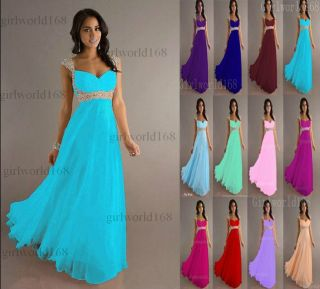 Stock New Chiffon Cap Sleeve Formal Prom Party Bridesmaid Evening Dress Size6 16