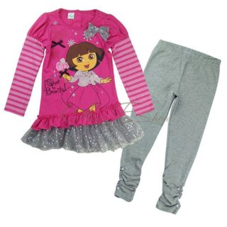 Girls Baby Dora Top Dress Leggings Pants Sets 2pcs Outfit Costume Set Sz 2 4 Y