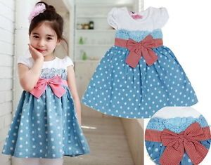 Girls Kids Baby Princess Cotton Tutu Dress 1 2Y Summer Clothes Polka Dot Bow New