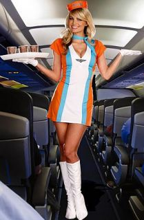 Medium Adult 4 PC Halloween Costume Retro Flight Attendant Stewardess