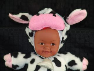Lovey Black Brown Face Baby Doll in Cow Pajama Costume Plush Stuffed Animal