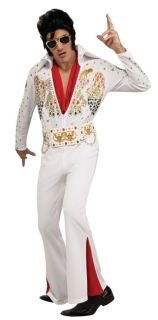 Elvis Presley Deluxe White Jumpsuit Outfit Licensed Sequins Adult Mens Costume