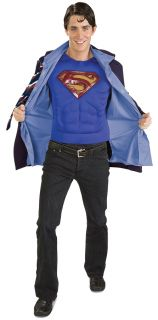 Clark Kent Superman Adult Costume Muscle Chest Men Jacket Superhero Theme Party