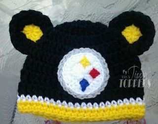 Baby Girl Boy Toddler Child Newborn Pittsburgh Steelers Crocheted Hat Beanie