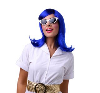 Womens Dark Blue Peggy Sue Halloween Costume Wig