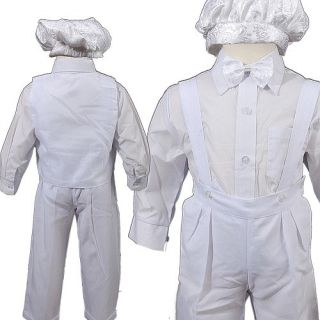 D275 Baby Boys Communinion Christening Baptism Formal 5pc Suit White