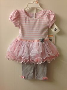 Bonnie Baby Girls Pink Silver Striped Tutu Top and Glitter Legging Set 12M
