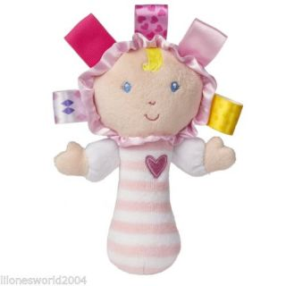 "Taggies Rattle Sweet Heart Baby Girl Doll Pink Soft Plush 6"" by Mary Meyer New"