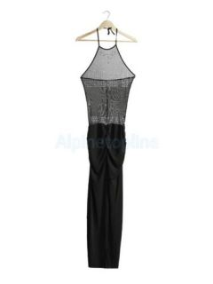 Sexy Transparent Black Long Halter Rhinestone Split Dress Prom Gown Clubwear