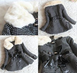 Gorgeous Baby Girls Faux Fur Outwear Clothes Kids Polka Dot Coat Jacket Clothing