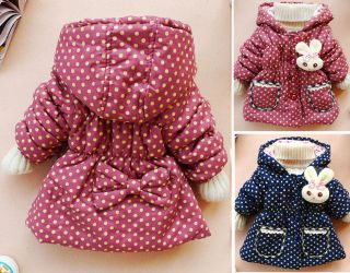 Baby Girls Kids Toddler Coat Snowsuit Clothes Lovely Child Winter Warm Jacket W
