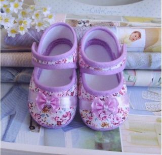 Baby Shoe Girls Warm Purple Bowknot Cotton Cloth Shoe Soft Bottom Fit 3 14 Month
