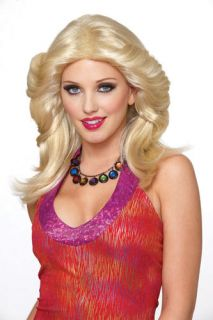 Farrah Fawcett Feathered Blonde Halloween Costume Wig