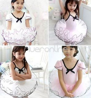 Fairy Girls Kids Leotard Ballet Dress Tutu Skirt Dancewear Skate Costume Sz 3 8