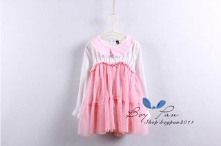 New Kids Toddlers Girls Dresses Princess Flower Long Sleeve Tulle Dress AGE2 7Y