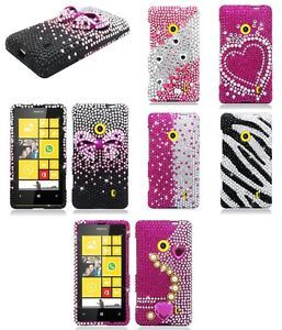 For Nokia Lumia 521 Case Pink Silver Diamond Bling Hard Phone Cover Accessory
