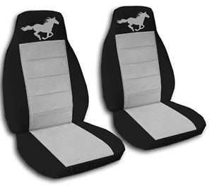 2 Cool Running Horse Car Seat Covers Blk Silver Awesome
