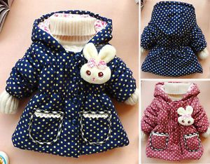 2013 Baby Girls Kids Toddler Polka Dot Clothes Coat Winter Jacket Snowsuits 1 4Y