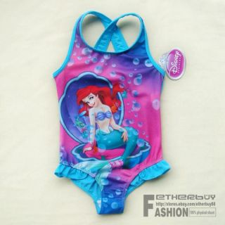 Toddler 5 5T Girls Disney Princess Ariel Mermaid Swimsuit Swimwear Barthing Suit
