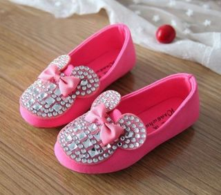 2014 New Kids Toddler Girls Bling Rhinestone Bow Candy Soft Flat Sneaker Shoes