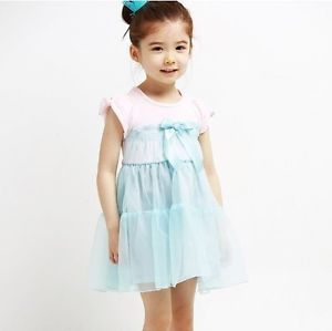 Baby Girl Clothing Blue Short Sleeves Floral Dress 100 for 3T Toddler Kid Girl