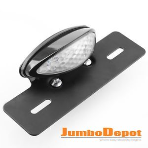 Motorcycle License Plate Holder Mount LED Brake Tail Light Black 1P for ATV Quad