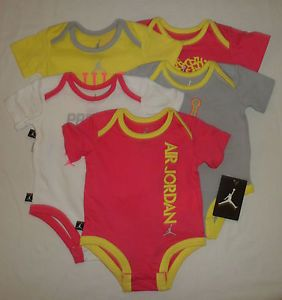 Nike Air Jordan Baby Girls Bodysuits Romper Shirt Lot Set Clothes Sz 0 3M