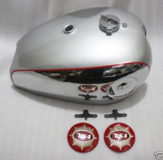 BSA Goldstar DBD32 DBD34 Gas Fuel Petrol Tank Chromed Silver Painted Cap Badges