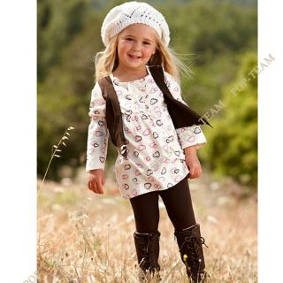 2013 Baby Girls Kids Clothes 2pc Set Dress Top Leggings 1 6Y Outfit Skirts TY5