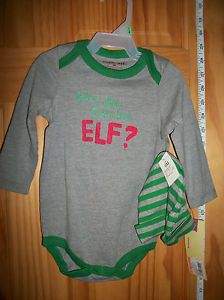 New Christmas Baby Clothes 9M Cherokee Elf Playsuit Hat Gray Bodysuit Outfit Cap