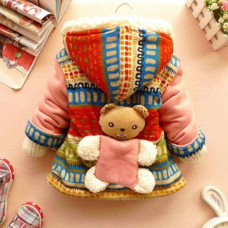 12 18 Months Toddler Baby Girls 3D Bear Winter Cotton Hooded Coat Clothes