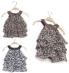 Baby Kid Lovely Toddler Girl Leopard Zebra Chiffon Dress Hight Quality Clothes