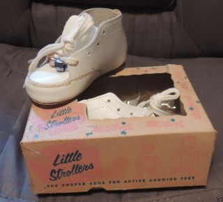 Vintage White Leather Baby Shoes Two Bells Little Strollers in Original Box