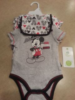 Baby Boy Disney Mickey Mouse 3 Piece Outfit Set Clothes One Piece Bodysuit