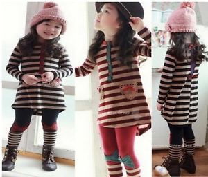 2pcs 1 Sets Baby Girls Outfit Stripe Top Dresses Toddlers Clothes Kids Leggings