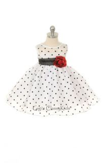 New Baby Girls White Black Polka Dot Dress XS XL Wedding Pageant Easter KD247