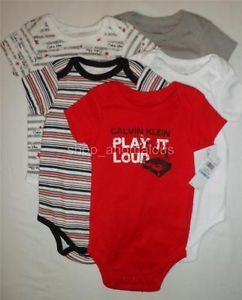 Calvin Klein Jeans Baby Boy Bodysuits Shirt Clothes Lot Set Sz 0 3M 3 Months